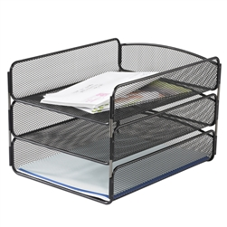Onyx Steel Mesh Triple Tray Desk Organizer