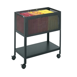 Open Top Mesh Tub Files w/ Lower Shelf and Casters