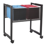 Adjustable black steel file cart with mesh side panels, for legal or letter size files