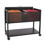Steel filing cart with locking top features two rows of hanging files and lower shelf for additional storage.