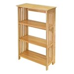 4 Tier, solid wood shelving unit that folds up for easy storage.