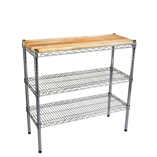 Hardwood butcher block tops for wire shelving