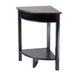"An espresso corner table that stands 31""h with a top and lower level of storage. Fourth point of contact with the floor for added stability."
