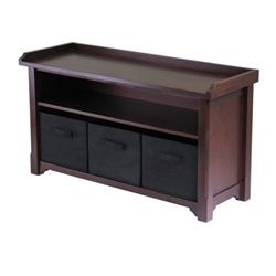 A deep walnut bench with a storage area beneath, includes three black canvas bags for organization.