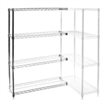 "Wire Shelving Add On Kit with 4 Shelves - 24""d x 24""h"