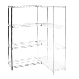 "Wire Shelving Add On Kit with 4 Shelves - 24""d x 42""h"