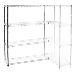 "Wire Shelving Add On Kit with 4 Shelves - 24""d x 60""h"