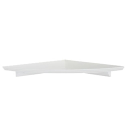 12 in. Radius decorative corner shelf in white, natural and honey oak