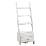 "White 69""h Ladder Bookcase with 2 Storage Drawers"
