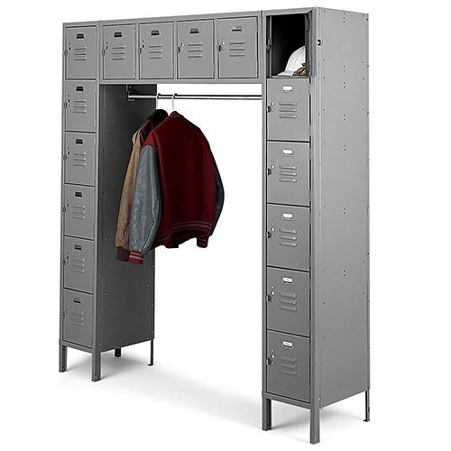 16 Person Locker with Coat Rack | Penco Vanguard Lockers