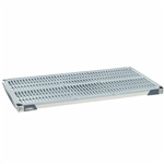 "18""d MetroMax Antimicrobial polymer shelf in gray and blue with a ventilated grid mat"