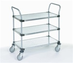 Three Shelf Galvanized Steel Utility Cart