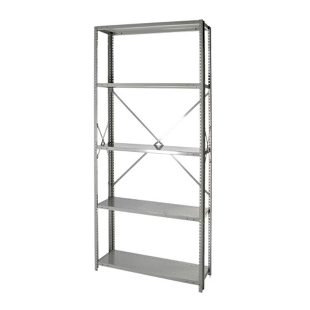 "Striking Metal Shelving Design To Increase Your Storage Space: Open Steel 5-Shelf Units 12"" Depth"