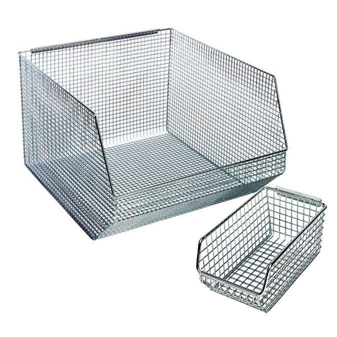 Wire Mesh Bins That Stacks And Hangs