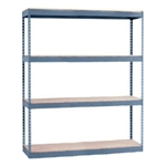 "24""d x 48""w x 60""h Heavy Duty metal rivet shelving. These boltless storage racks serve as industrial shelving yet work in garages and workshops. Choose your style of decking: particle board, wire mesh, or laminate melamine."