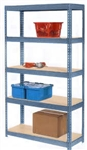 12d x 36w Double Rivet Shelving with 5 tiers. This boltless metal bulk rack storage system comes with a variety of decking options, including particle board, laminate melamine, and wire mesh decks.