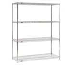"18"" D Stainless Steel Wire Shelving with 4 Shelves"