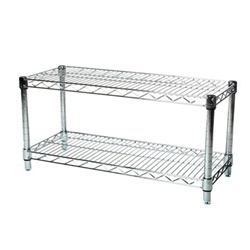 "Industrial Wire Shelving Unit with 2 Shelves - 12""d"