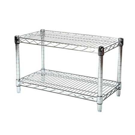 14 Depth Chrome Wire Shelving Unit With 2 Shelves