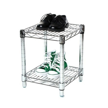 "14"" Depth Chrome Wire Shelving Unit with 2 Shelves"