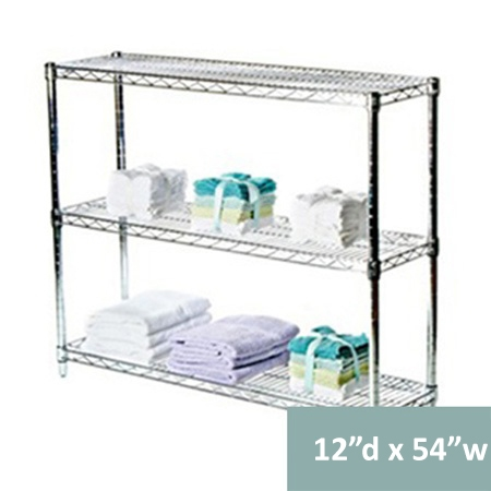 three tier wire shelving racks 12 inches deep 12 d. Black Bedroom Furniture Sets. Home Design Ideas