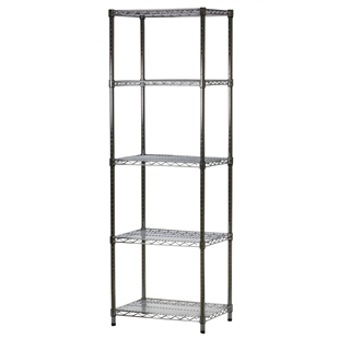 "Industrial Wire Shelving Unit with 5 Shelves - 18""d x 24""w"
