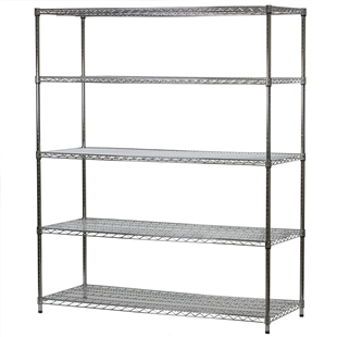"Industrial Wire Shelving Unit with 5 Shelves - 24""d x 60""w"