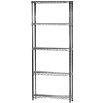 "Industrial Wire Shelving Unit with 5 Shelves - 8""d x 24""w"
