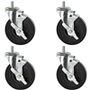 Four Rubber Swivel Casters with brake