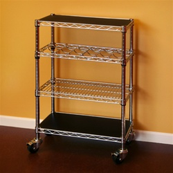 "Chrome Wire Kitchen Kit 14""d x 36""w x 34""h Wine Cart"