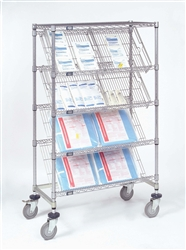 Four slant shelves with one standard chrome wire shelf