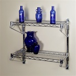 "12""d 2 Shelf Chrome Wire Wall Mounted Shelving Kit"