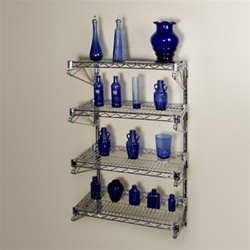18d 4 Shelf Chrome Wire Wall Mounted Shelving Kit