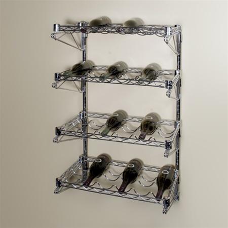 14 D 4 Shelf Chrome Wire Wall Mounted Wine Shelving Kit