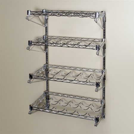 14 d 4 shelf chrome wire wall mounted wine shelving kit. Black Bedroom Furniture Sets. Home Design Ideas