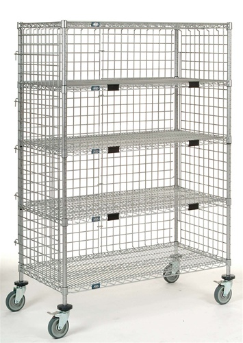 Mobile Wire Shelving Security Cart 5 Tier Truck Nexel