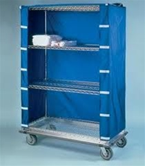 "24"" Depth Wire Shelving Cart Covers- Blue"