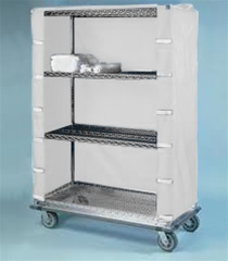 "24"" Depth Wire Shelving Cart Covers White"