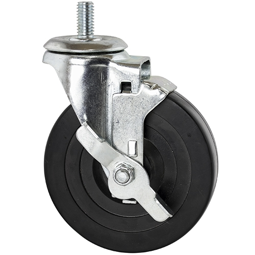 Threaded Rubber Casters W Brake For Wire Shelving