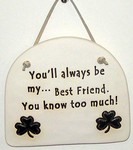 """You'll always be my... Best Friend. You know too much!"" Large Hanging Plaque"