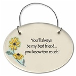 """You'll always be my best friend... you know too much!"" Small Hanging Plaque"