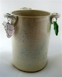 G-WIZ POTTERY- VASE WITH WIRE WRAPPED SEA GLASS