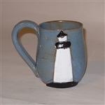MudWorks Pottery Blue Lighthouse Mug by JoAnne Stratakos