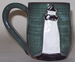 MudWorks Pottery Blue Green Lighthouse Mug by JoAnne Stratakos