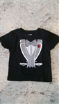 Small sized tuxedo tshirt for babies 6 to 18 months.  Great for dogs too!
