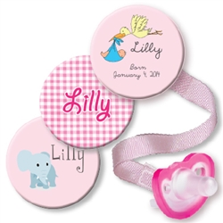 c. Personalized 3-Pack Pink Stork Combo