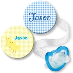 Personalized Chick & Baby Feet Blue Combo