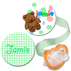 Personalized Green Gingham & Teddy