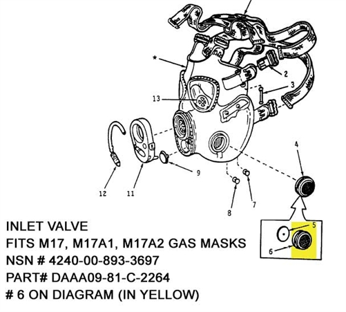 Inlet Valve for M17 Series Gas Masks including M17A1 Gas