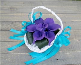 Flower Girl Calla Lily Tropical Beach Wedding Basket - Your Colors!